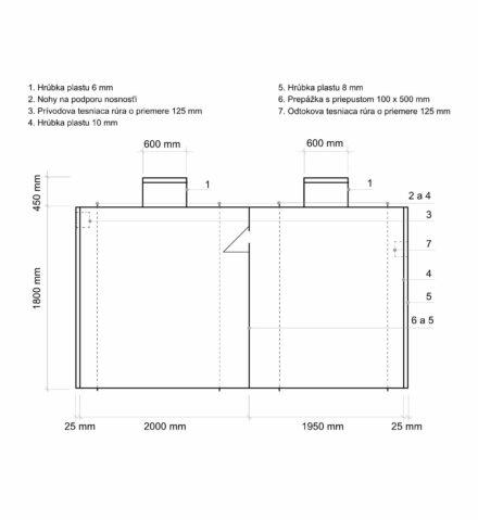 Septik plastový Plastbest 10m³ dvoj-komorový - rozměry z bočního pohledu