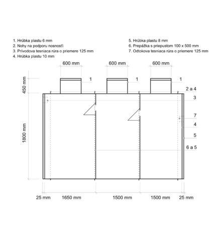 Septik plastový Plastbest 12m³ tří-komorový - rozměry z bočního pohledu