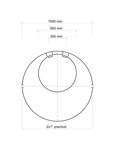 Vodoměrná šachta plastová Plastbest 1300x1000 - rozměry z vrchního pohledu