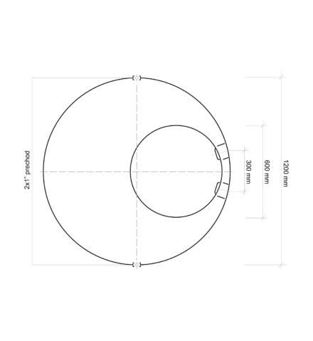 Vodomerná šachta plastová Plastbest 1300x1200 - rozmery z vrchného pohľadu