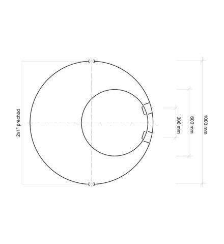 Vodomerná šachta plastová Plastbest 1600x100 - rozmery z vrchného pohľadu