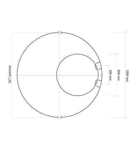Vodomerná šachta plastová Plastbest 1600x1200 - rozmery z vrchného pohľadu