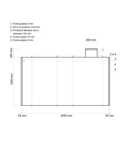 Žumpa plastová Plastbest 12m³ - rozmery z bočného pohľadu