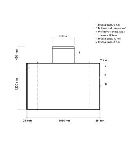 Žumpa plastová Plastbest 2.2m³ - rozmery z bočného pohľadu