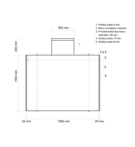 Žumpa plastová Plastbest 3m³ - rozmery z bočného pohľadu