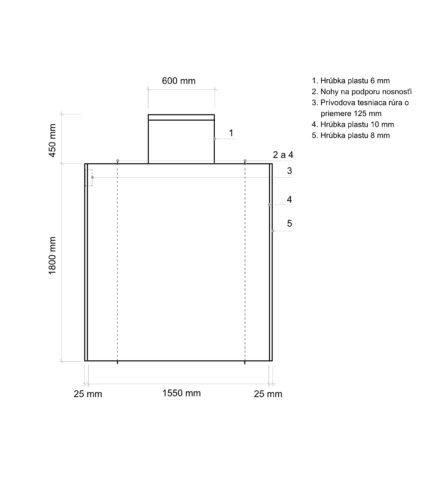 Žumpa plastová Plastbest 4m³ - rozmery z bočného pohľadu