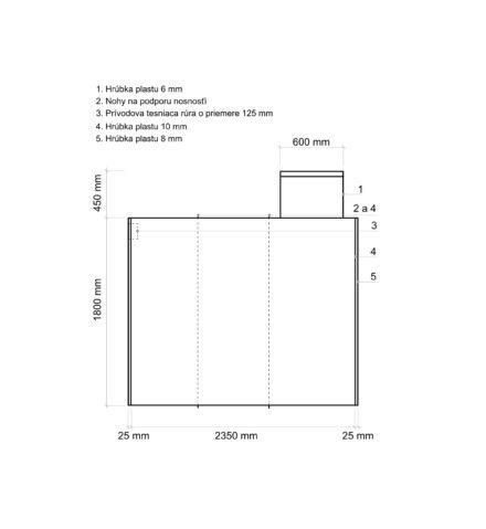 Žumpa plastová Plastbest 6m³ - rozmery z bočného pohľadu