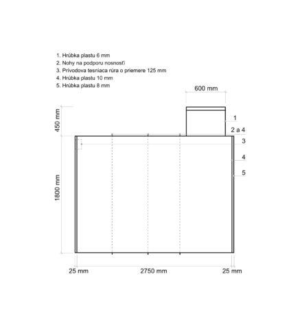 Žumpa plastová Plastbest 7m³ - rozmery z bočného pohľadu