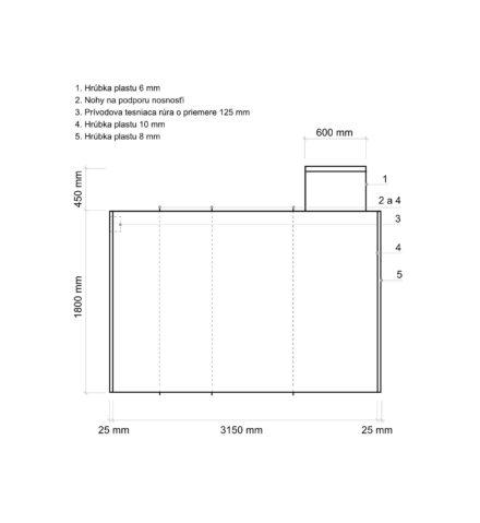 Žumpa plastová Plastbest 8m³ - rozmery z bočného pohľadu