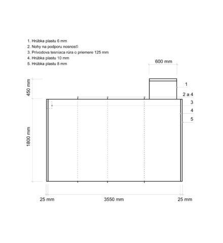 Žumpa plastová Plastbest 9m³ - rozmery z bočného pohľadu